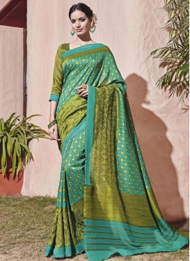 Beguiling Olive and Sea Green Embroidered Work Contemporary Style Saree
