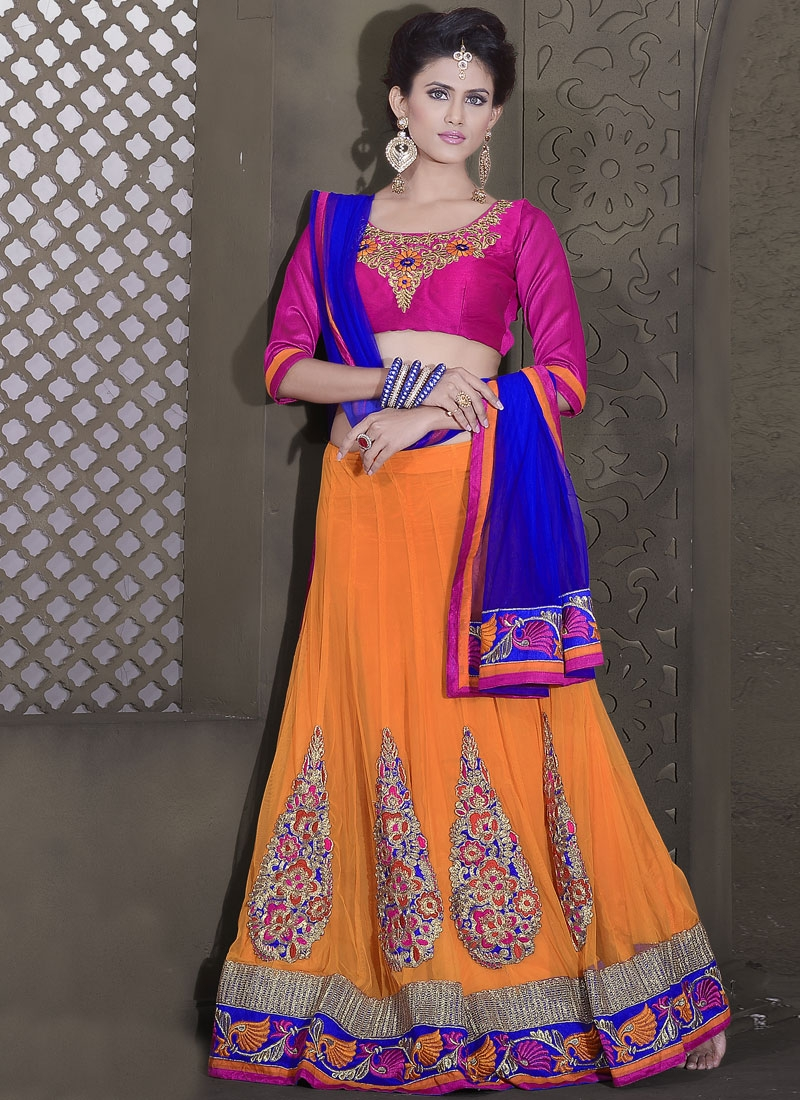Beguiling Orange Color Net Party Wear Lehenga Choli