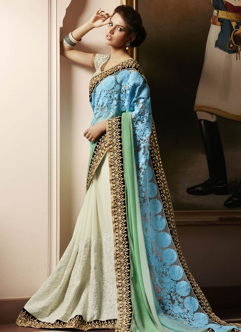 Beguiling Patch Border Work Net Half N Half Designer Saree