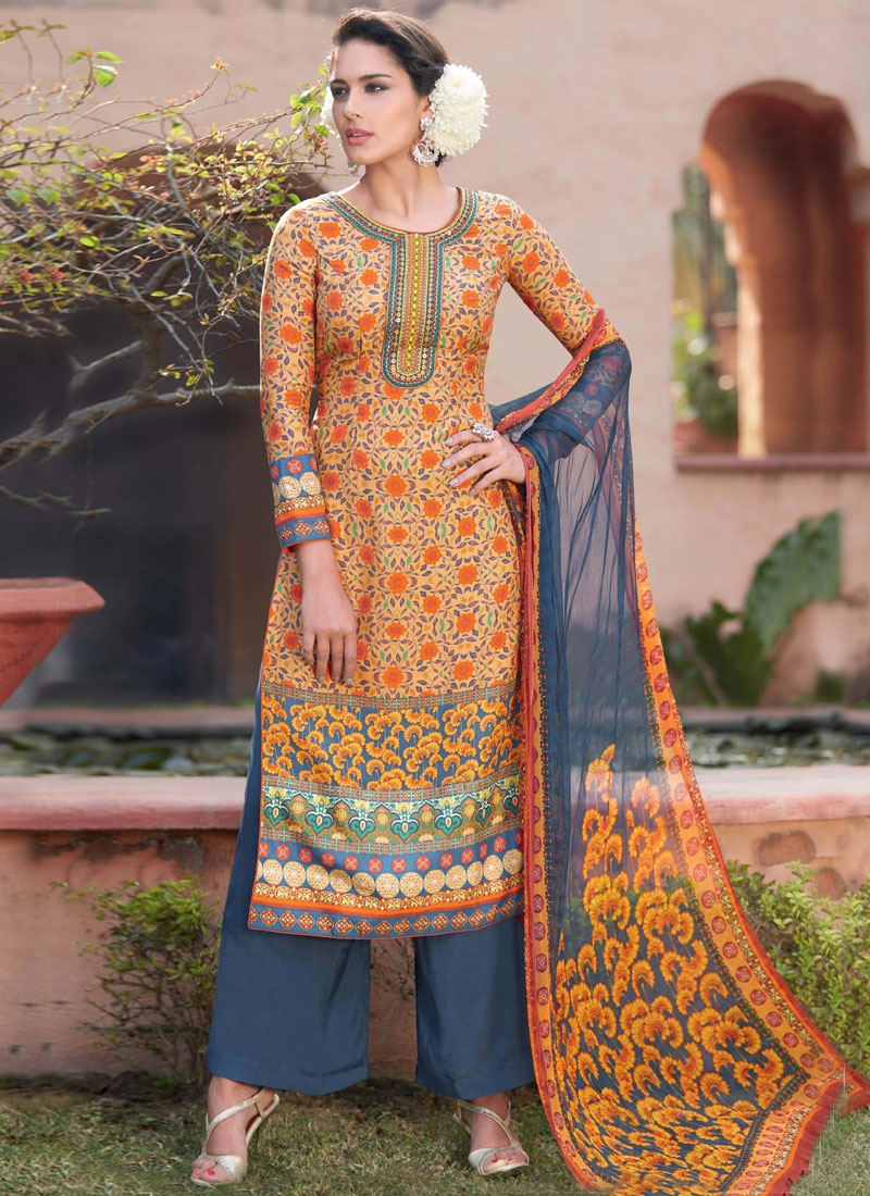 Beguiling Peach And Grey Color Palazzo Style Pakistani Suit