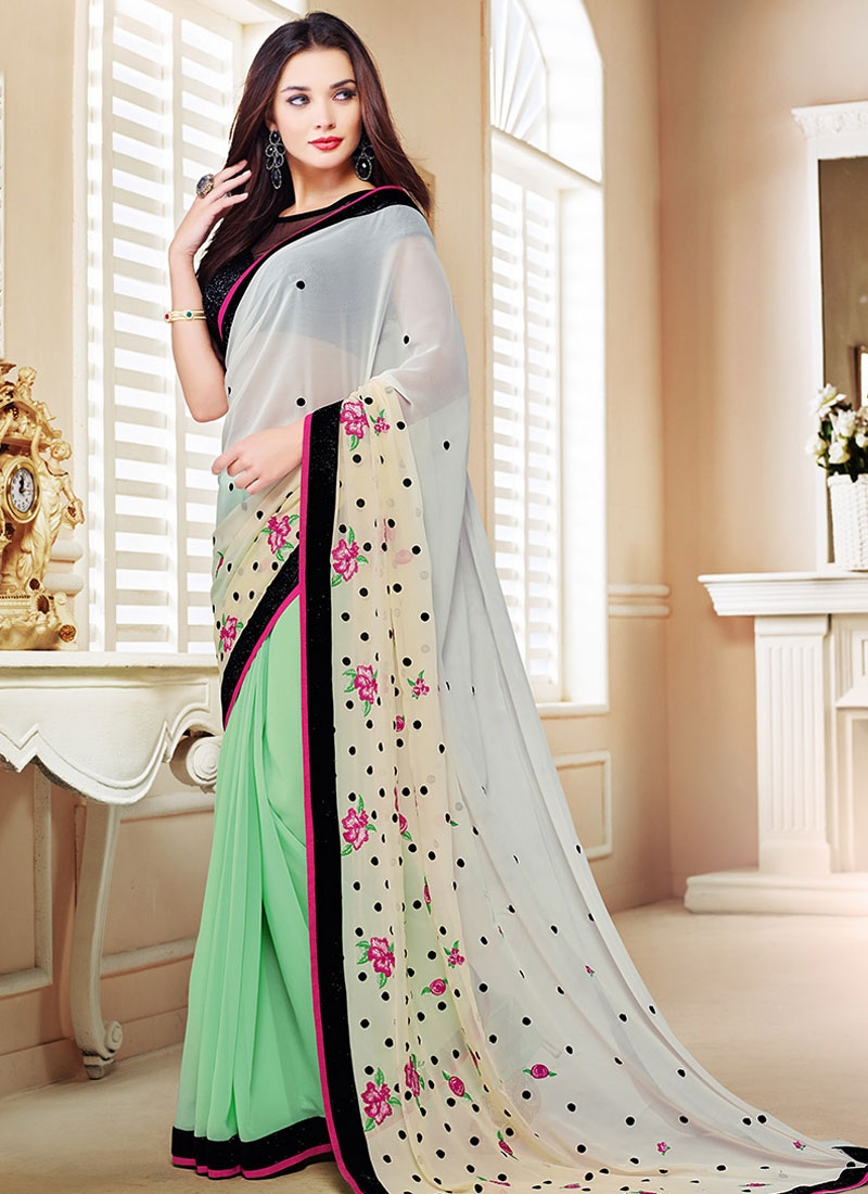 Beguiling Pure Georgette Amy Jackson Half N Half Party Wear Saree