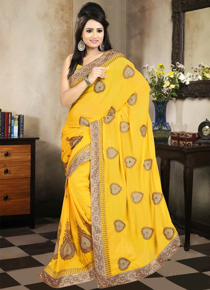 Beguiling Resham And Stone Work Party Wear Saree
