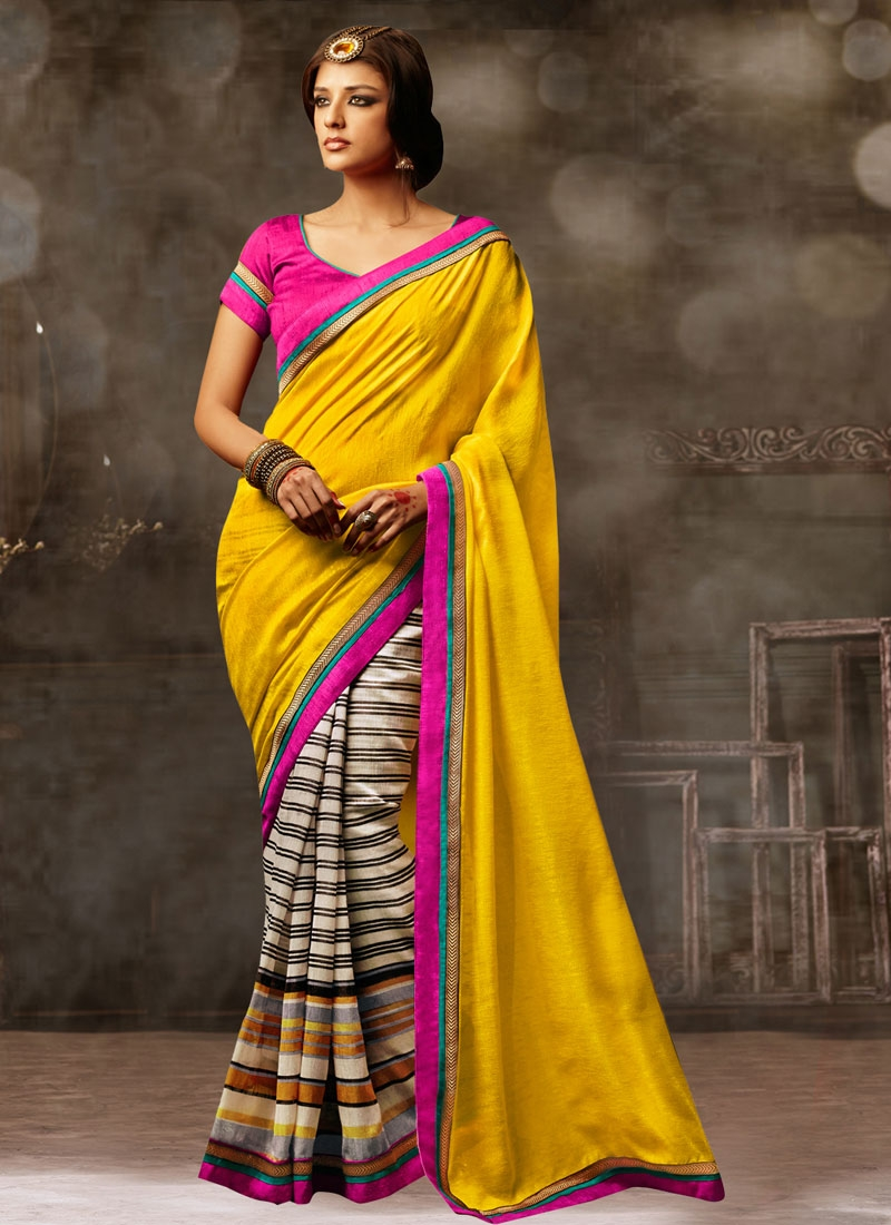 Beguiling Yellow Color Half N Half Casual Saree