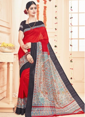 Beige and Black Art Silk Contemporary Style Saree For Casual
