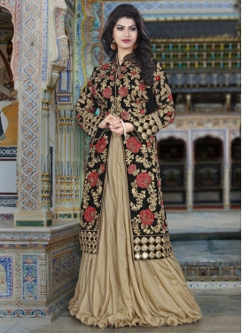 Beige and Black Art Silk Kameez Style Lehenga