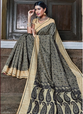 Beige and Black Contemporary Saree For Festival