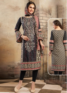 Beige and Black Cotton  Trendy Churidar Salwar Suit