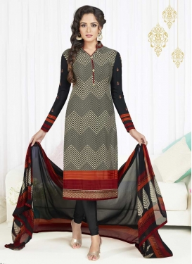 Beige and Black Crepe Silk Churidar Salwar Suit For Festival