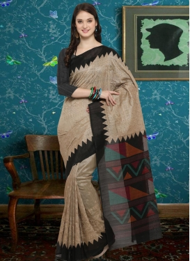Beige and Black Embroidered Work Classic Saree