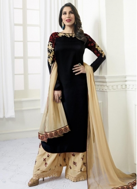 Beige and Black Embroidered Work Palazzo Style Pakistani Salwar Kameez