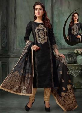 Beige and Black Embroidered Work Readymade Designer Salwar Suit