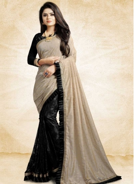 Beige and Black Half N Half Saree