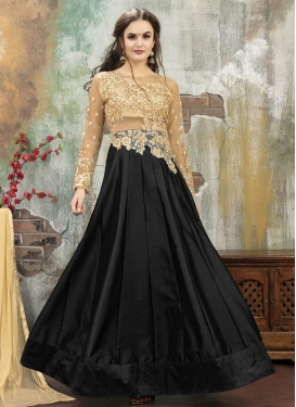Beige and Black Net Designer A Line Lehenga Choli For Ceremonial