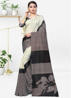 Beige and Black Traditional Designer Saree