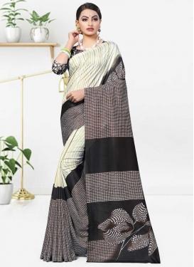 Beige and Black Traditional Designer Saree