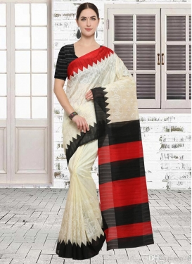Beige and Black  Traditional Saree