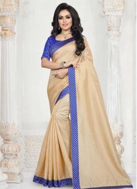 Beige and Blue Art Silk Trendy Classic Saree