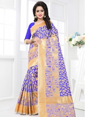 Beige and Blue Banarasi Silk Contemporary Saree