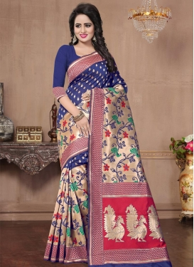 Beige and Blue Banarasi Silk Trendy Classic Saree