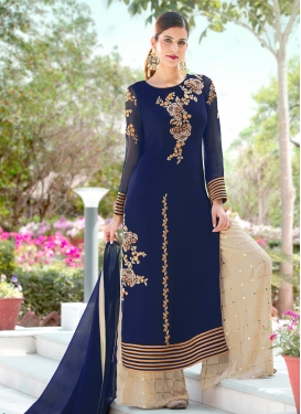 Beige and Blue Designer Palazzo Salwar Suit For Ceremonial