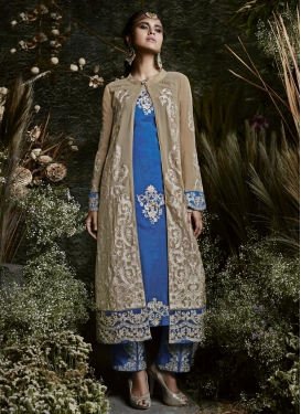 Beige and Blue Faux Georgette Pant Style Classic Salwar Suit