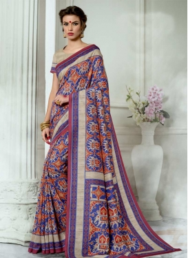 Beige and Blue Print Work Contemporary Saree