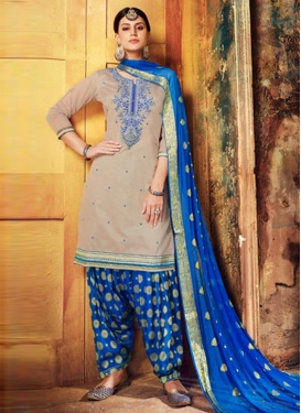 Beige and Blue Semi Patiala Salwar Suit For Festival