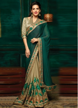 Beige and Bottle Green Aari Work Half N Half Designer Saree