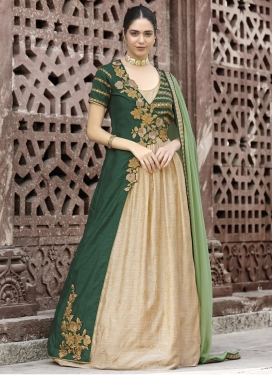 Beige and Bottle Green Embroidered Work Long Length Designer Suit