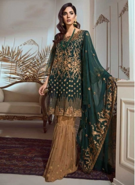 Beige and Bottle Green Embroidered Work Sharara Salwar Kameez