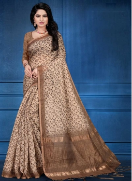 Beige and Brown Digital Print Work Trendy Classic Saree