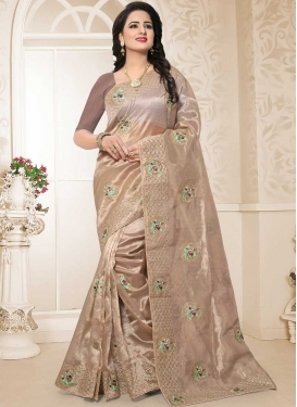 Beige and Brown Embroidered Work Organza Traditional Designer Saree