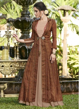 Beige and Brown Jacket Style Salwar Kameez