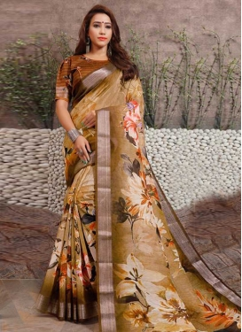 Beige and Brown Linen Classic Saree