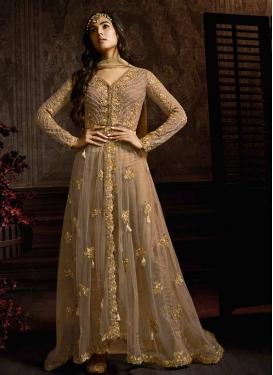 Beige and Brown Net Pant Style Designer Salwar Kameez For Festival