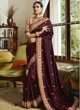 Beige and Coffee Brown Designer Contemporary Style Saree For Festival