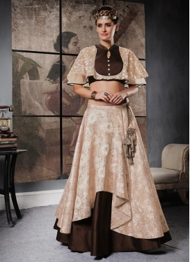 Beige and Coffee Brown Layered Designer Lehenga Choli For Festival