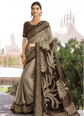 Beige and Coffee Brown Thread Work Trendy Saree