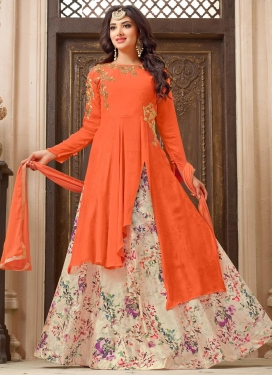 Beige and Coral Cotton Silk Kameez Style Lehenga