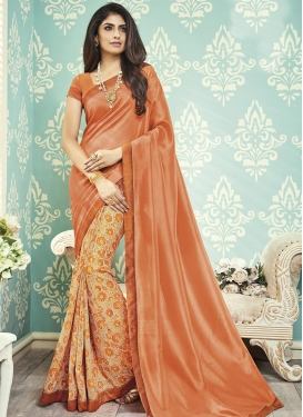 Beige and Coral Lace Work Half N Half Trendy Saree