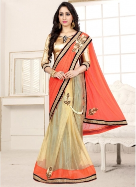 Beige and Coral Lycra Half N Half Trendy Saree