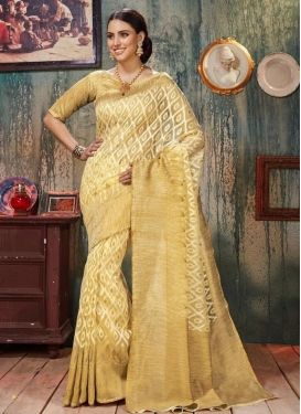 Beige and Cream Art Silk Contemporary Saree