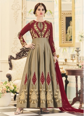 Beige and Crimson Anarkali Salwar Kameez