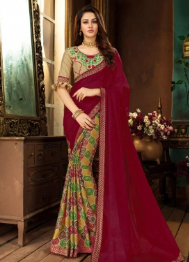 Beige and Crimson Embroidered Work Half N Half Saree