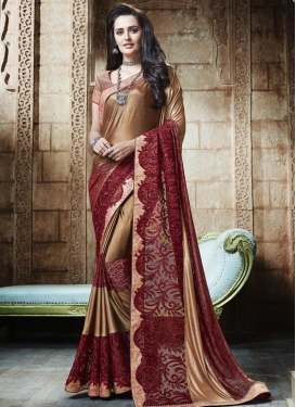 Beige and Crimson  Lycra Designer Contemporary Style Saree