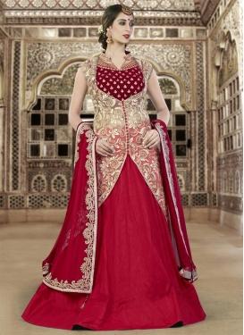 Beige and Crimson Net Designer Kameez Style Lehenga Choli