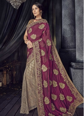 Beige and Crimson Net Half N Half Designer Saree