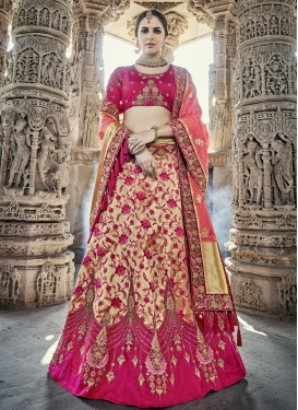 Beige and Fuchsia Beads Work A Line Lehenga Choli