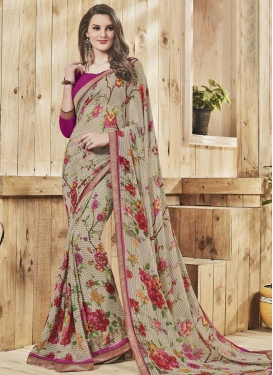 Beige and Fuchsia  Classic Saree