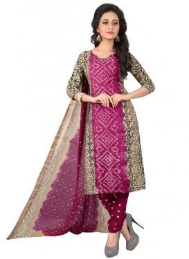 Beige and Fuchsia Cotton Satin Churidar Punjabi Salwar Kameez